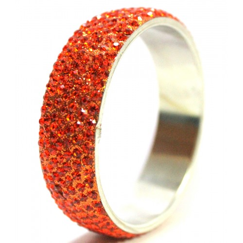 Orange Color 7 Line Single Piece Crystal Metal Bangles Bracelets Kada