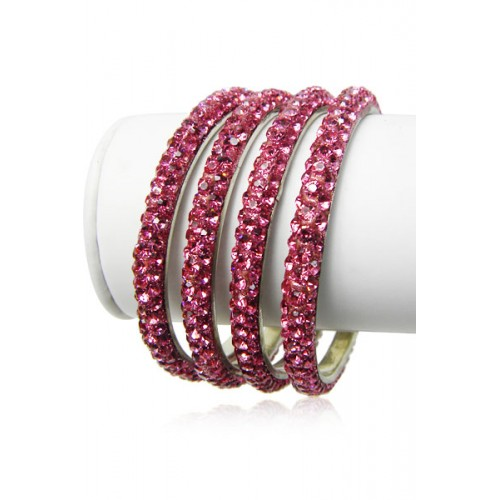 29d73e548a3f8 Pink Color 3 Line 12ss Crystal Metal Bangles Bracelets Set of 4 Pieces