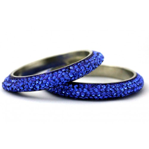 Ink Blue 5 Line Crystal Metal Bangles Bracelets Set Of 2 Pieces