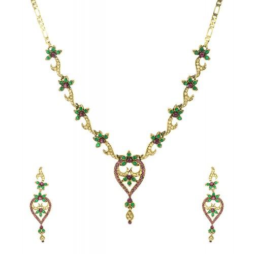 549c0a47e74f8 Multicolored Green Purple Gold Austrian Crystals Choker Necklace Set for  Women
